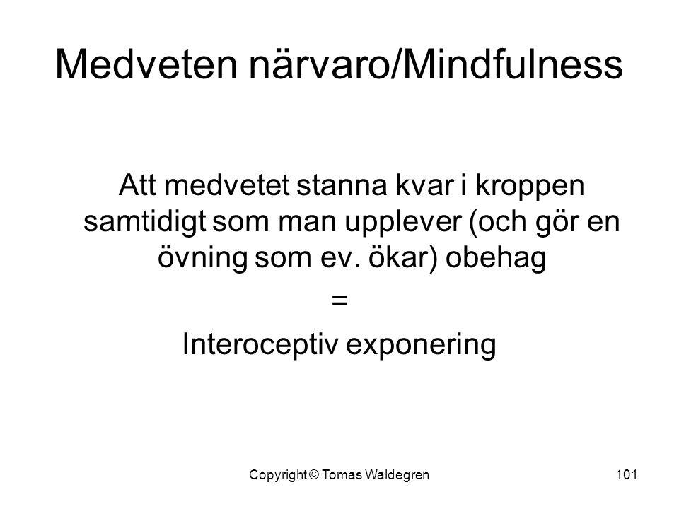Medveten närvaro/Mindfulness Att medvetet stanna kvar i kroppen samtidigt som man upplever (och gör en övning som ev. ökar) obehag = Interoceptiv expo
