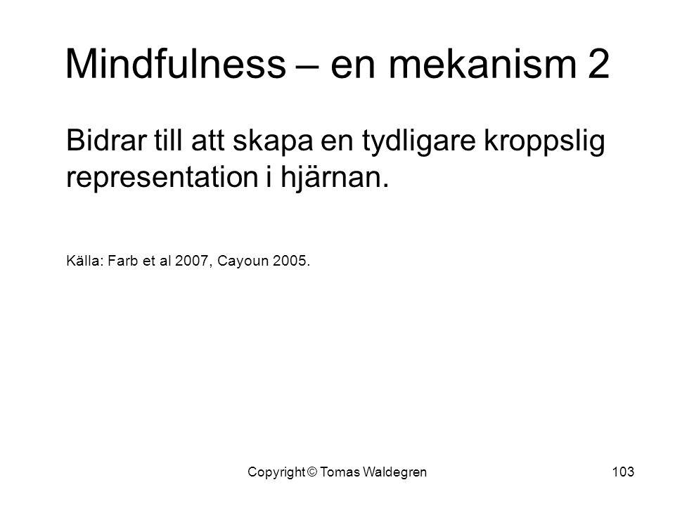Mindfulness – en mekanism 2 Bidrar till att skapa en tydligare kroppslig representation i hjärnan. Källa: Farb et al 2007, Cayoun 2005. 103Copyright ©