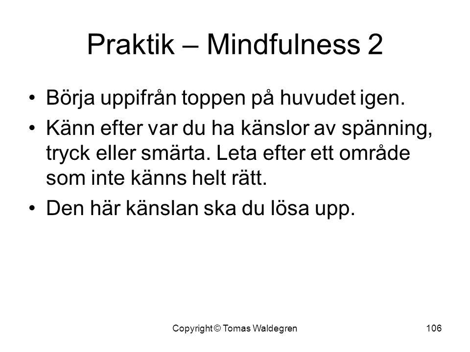 Praktik – Mindfulness 2 •Börja uppifrån toppen på huvudet igen. •Känn efter var du ha känslor av spänning, tryck eller smärta. Leta efter ett område s
