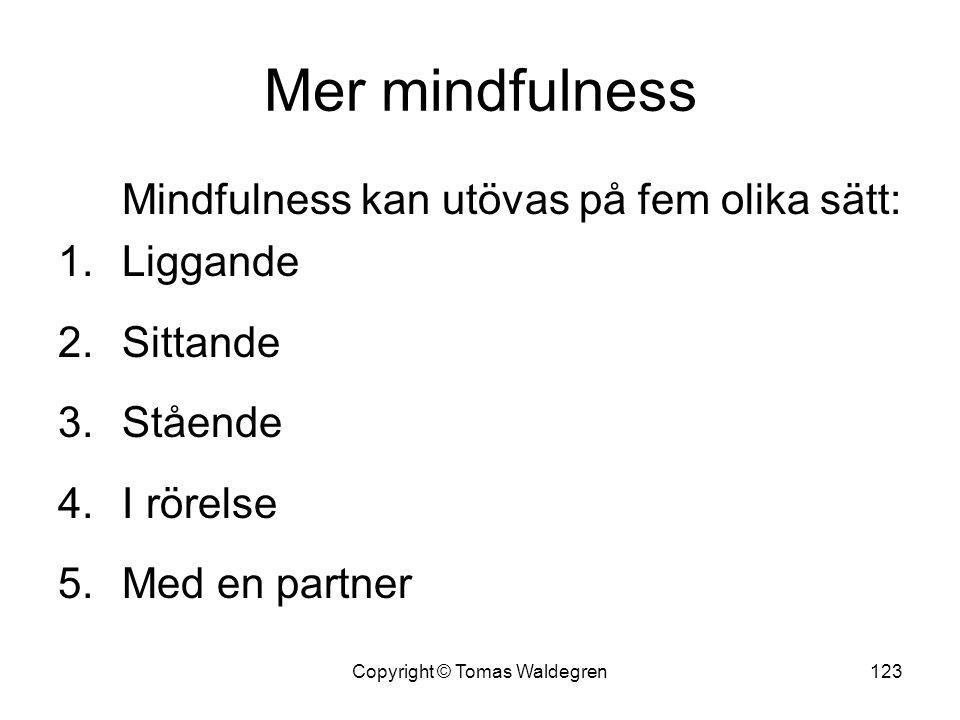 Mer mindfulness Mindfulness kan utövas på fem olika sätt: 1.Liggande 2.Sittande 3.Stående 4.I rörelse 5.Med en partner 123Copyright © Tomas Waldegren
