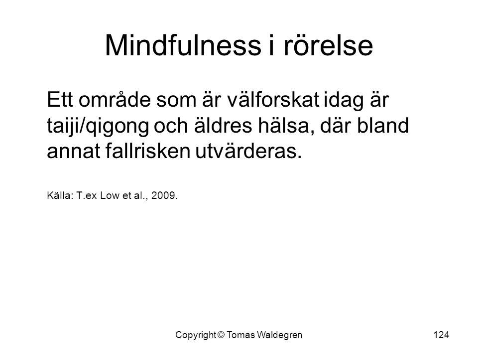 Mindfulness i rörelse Ett område som är välforskat idag är taiji/qigong och äldres hälsa, där bland annat fallrisken utvärderas. Källa: T.ex Low et al