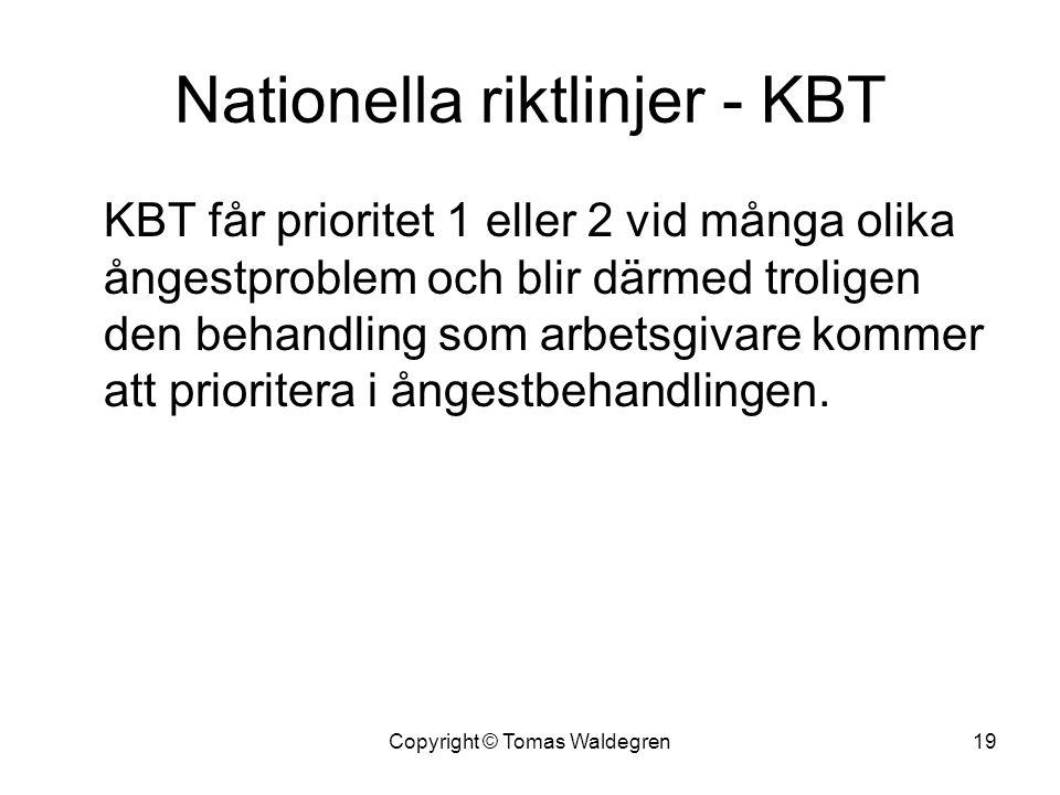 Nationella riktlinjer - KBT KBT får prioritet 1 eller 2 vid många olika ångestproblem och blir därmed troligen den behandling som arbetsgivare kommer