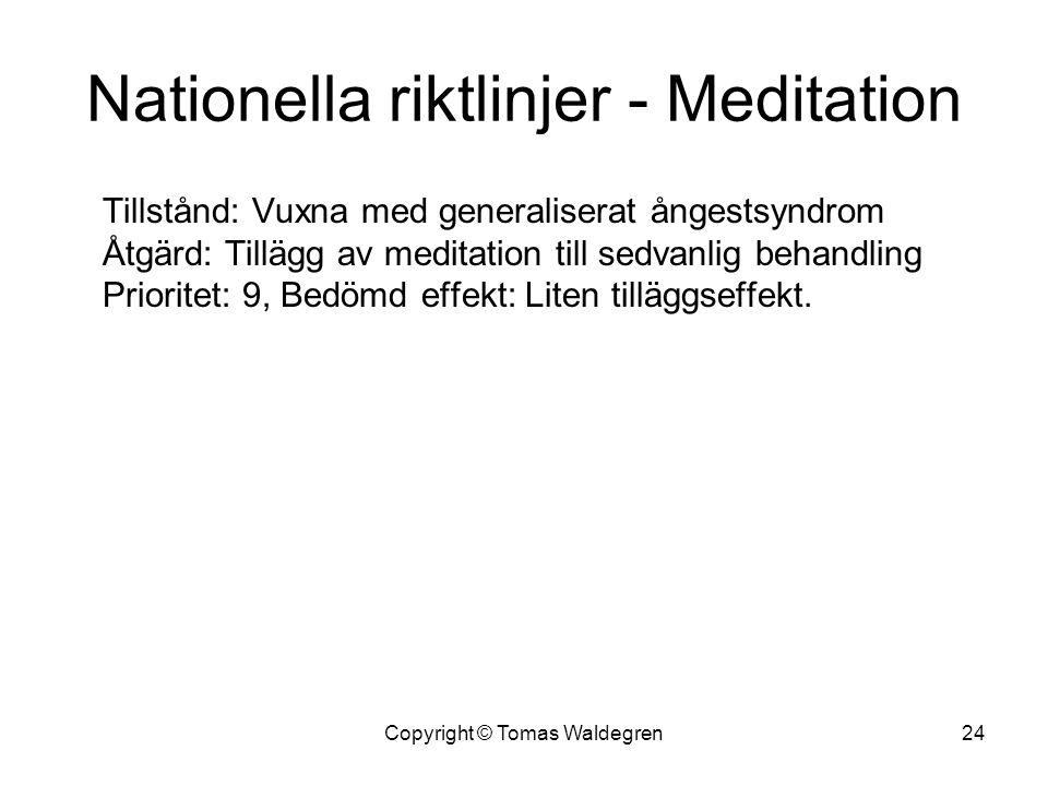 Nationella riktlinjer - Meditation Tillstånd: Vuxna med generaliserat ångestsyndrom Åtgärd: Tillägg av meditation till sedvanlig behandling Prioritet: