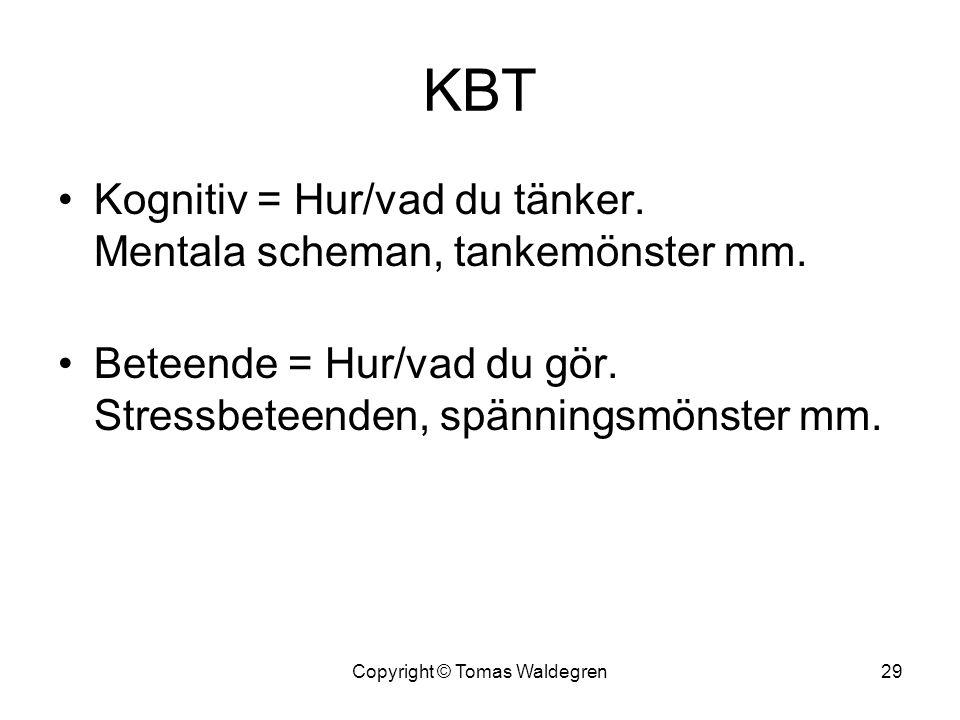KBT •Kognitiv = Hur/vad du tänker. Mentala scheman, tankemönster mm. •Beteende = Hur/vad du gör. Stressbeteenden, spänningsmönster mm. 29Copyright © T