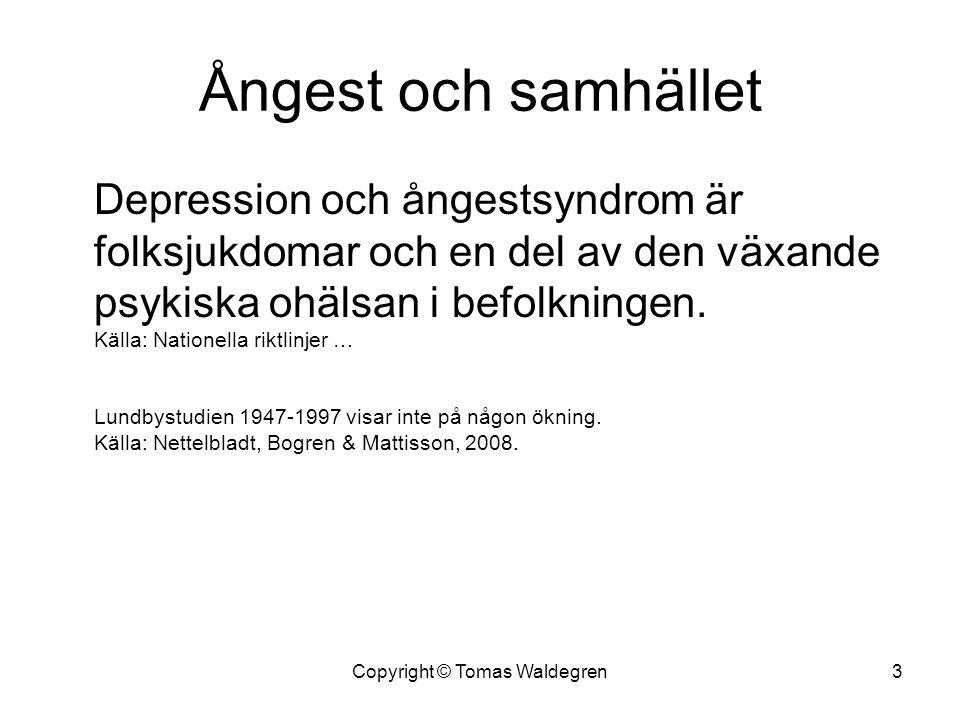 Ångest och samhället Depression och ångestsyndrom är folksjukdomar och en del av den växande psykiska ohälsan i befolkningen. Källa: Nationella riktli
