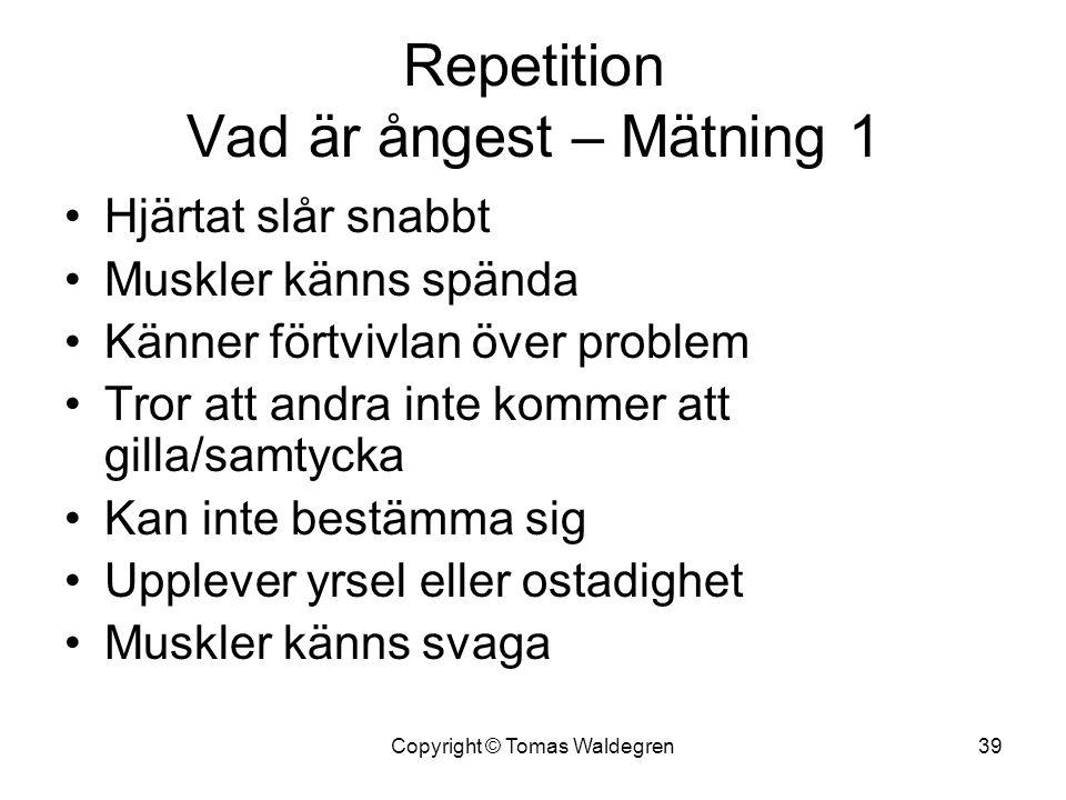 Repetition Vad är ångest – Mätning 1 •Hjärtat slår snabbt •Muskler känns spända •Känner förtvivlan över problem •Tror att andra inte kommer att gilla/