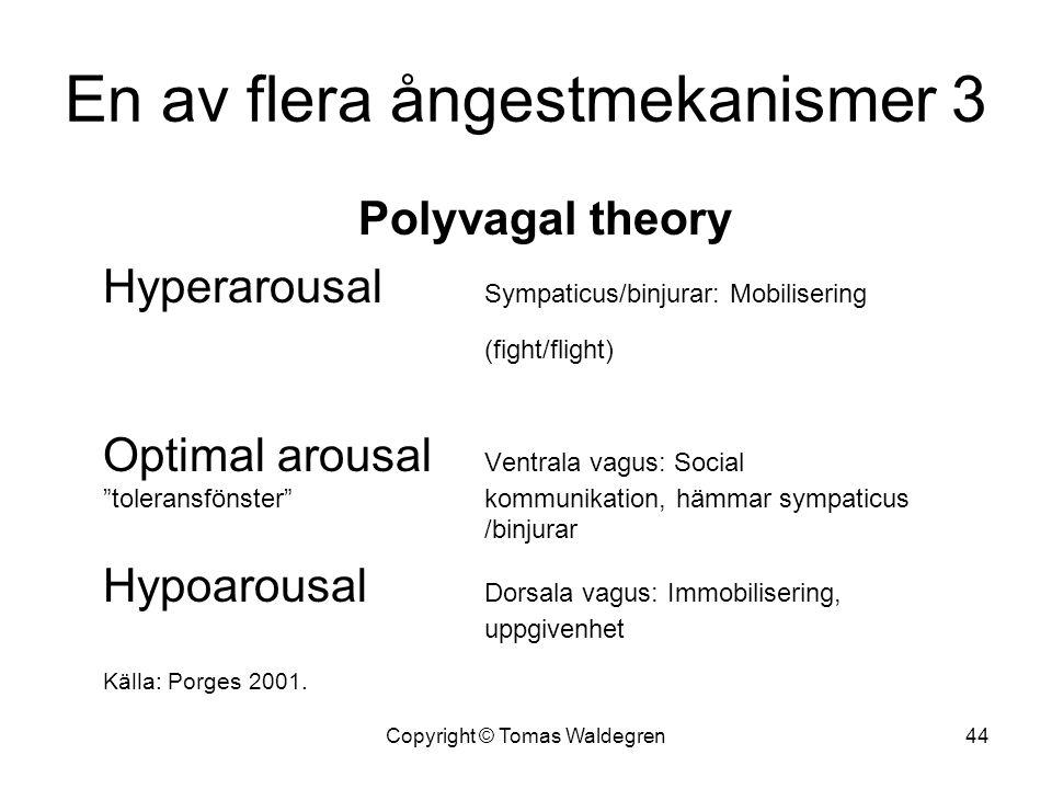 """En av flera ångestmekanismer 3 Polyvagal theory Hyperarousal Sympaticus/binjurar: Mobilisering (fight/flight) Optimal arousal Ventrala vagus: Social """""""