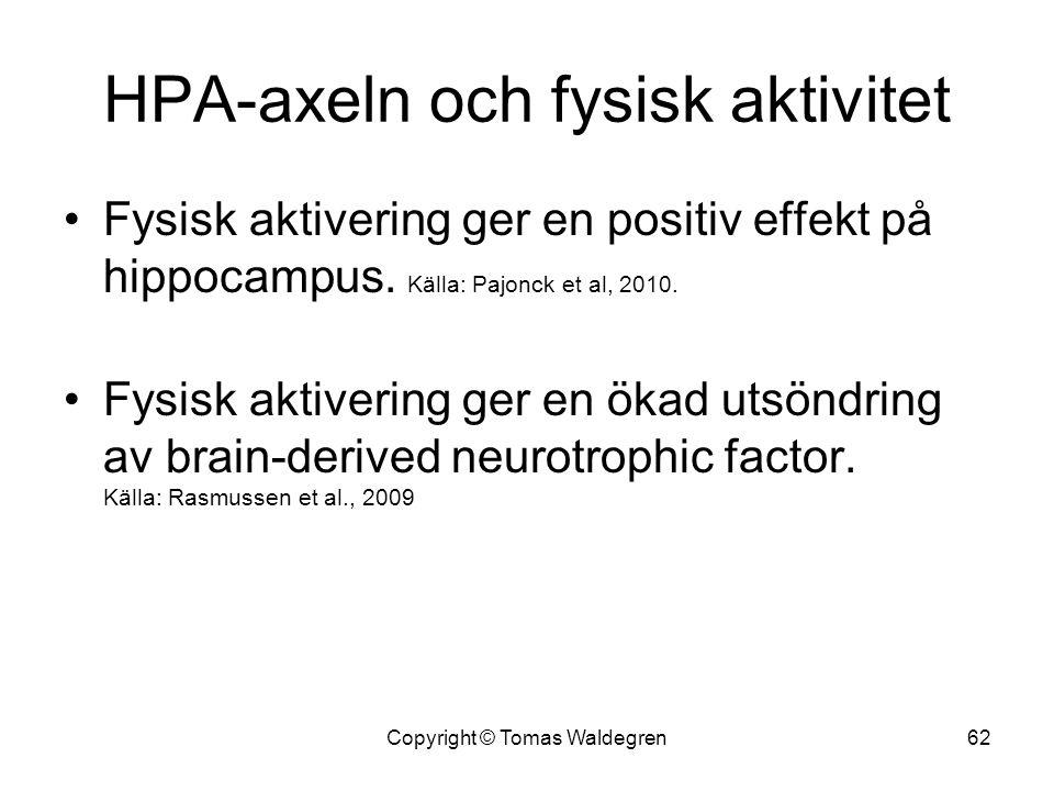 HPA-axeln och fysisk aktivitet •Fysisk aktivering ger en positiv effekt på hippocampus. Källa: Pajonck et al, 2010. •Fysisk aktivering ger en ökad uts