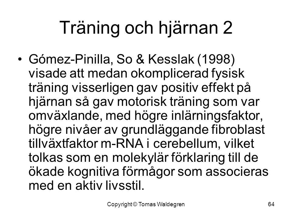 Träning och hjärnan 2 •Gómez-Pinilla, So & Kesslak (1998) visade att medan okomplicerad fysisk träning visserligen gav positiv effekt på hjärnan så ga