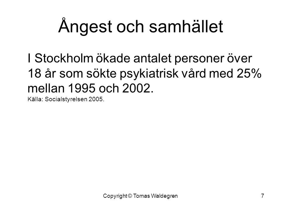 Ångest och samhället I Stockholm ökade antalet personer över 18 år som sökte psykiatrisk vård med 25% mellan 1995 och 2002. Källa: Socialstyrelsen 200