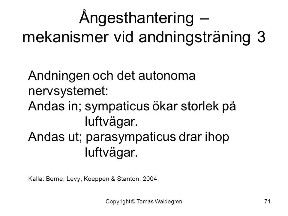 Ångesthantering – mekanismer vid andningsträning 3 Andningen och det autonoma nervsystemet: Andas in; sympaticus ökar storlek på luftvägar. Andas ut;