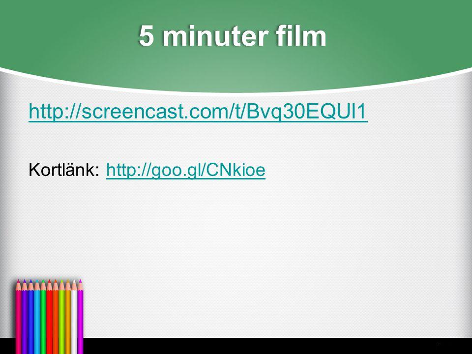 5 minuter film http://screencast.com/t/Bvq30EQUl1 Kortlänk: http://goo.gl/CNkioehttp://goo.gl/CNkioe