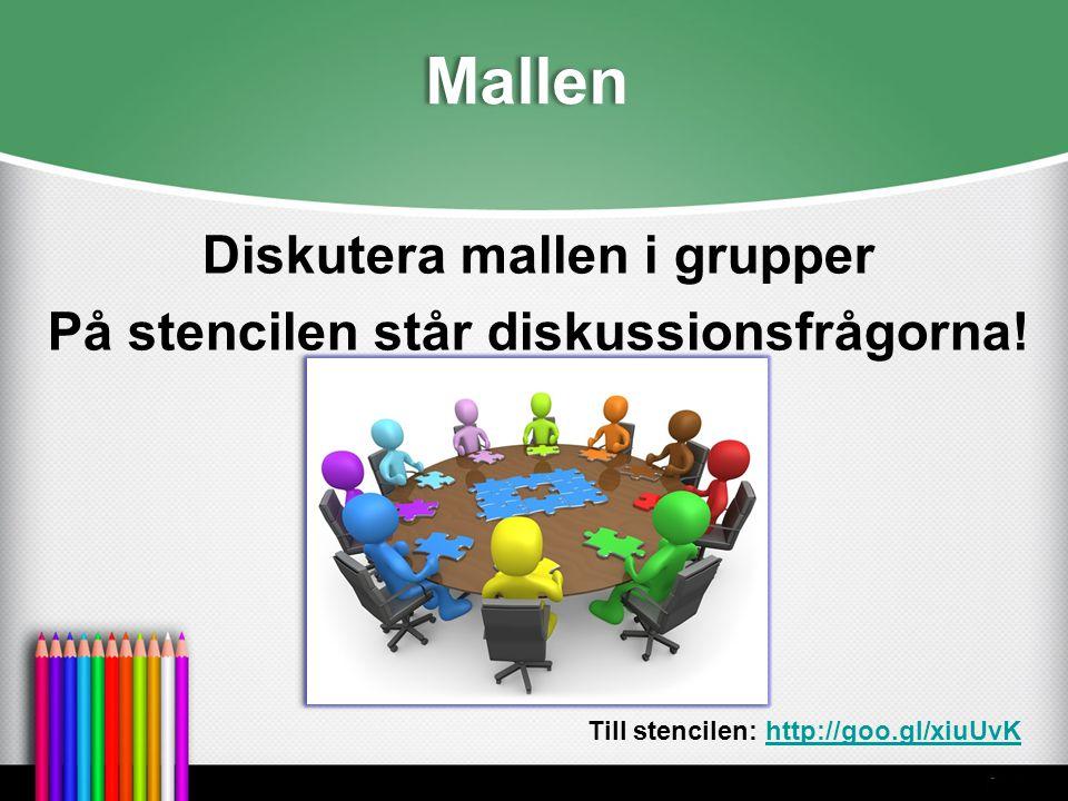 Mallen Diskutera mallen i grupper På stencilen står diskussionsfrågorna! Till stencilen: http://goo.gl/xiuUvKhttp://goo.gl/xiuUvK