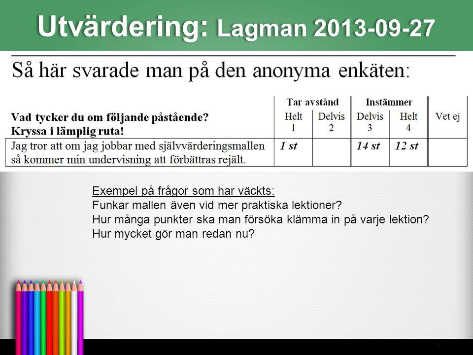 Utvärdering: Lagman 2013-09-27 Exempel på frågor som har väckts: Funkar mallen även vid mer praktiska lektioner? Hur många punkter ska man försöka klä