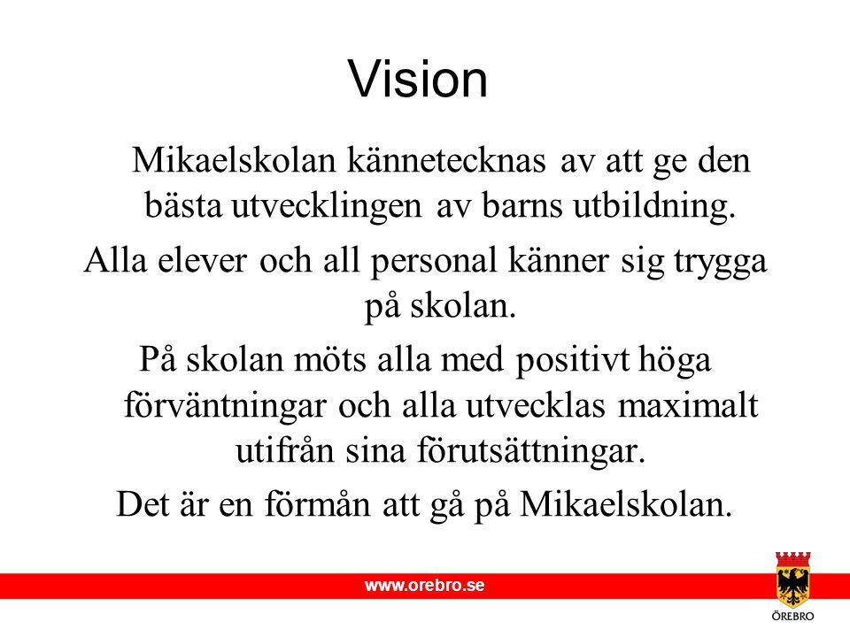 www.orebro.se Vision Mikaelskolan kännetecknas av att ge den bästa utvecklingen av barns utbildning.
