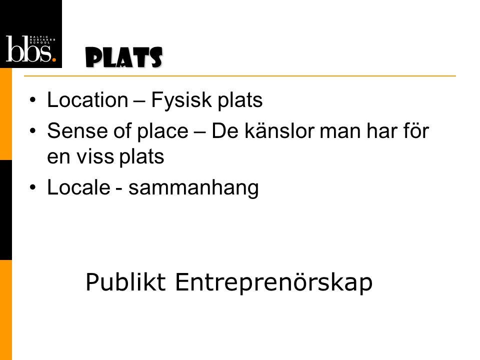 Plats •Location – Fysisk plats •Sense of place – De känslor man har för en viss plats •Locale - sammanhang Publikt Entreprenörskap