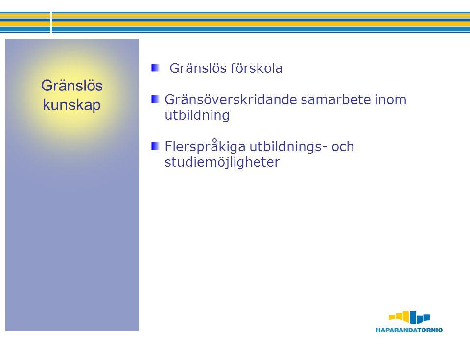 Gränslös förskola Gränsöverskridande samarbete inom utbildning Flerspråkiga utbildnings- och studiemöjligheter Gränslös kunskap