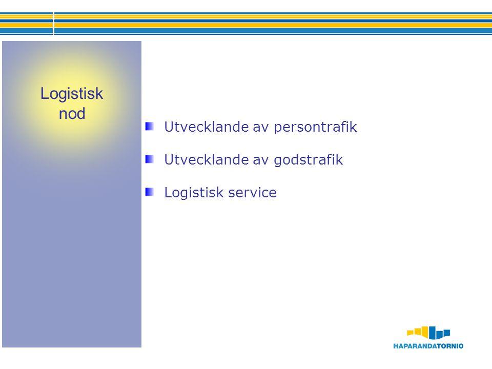 Utvecklande av persontrafik Utvecklande av godstrafik Logistisk service Logistisk nod
