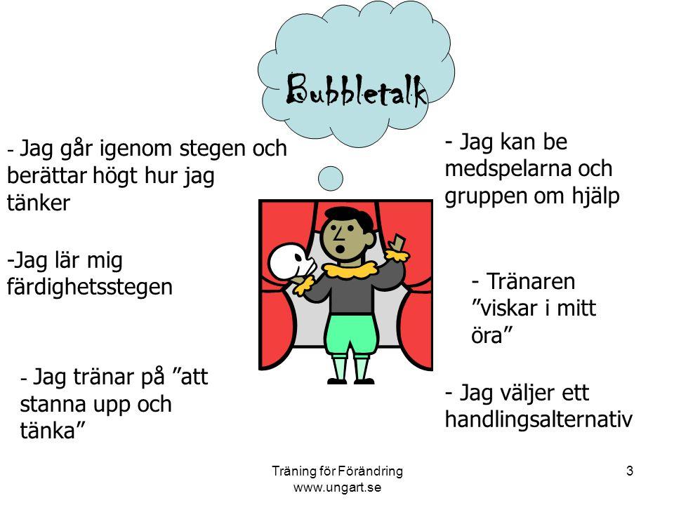 Träning för Förändring www.ungart.se 3 - Jag går igenom stegen och berättar högt hur jag tänker -Jag lär mig färdighetsstegen - Jag tränar på att stanna upp och tänka - Jag väljer ett handlingsalternativ - Jag kan be medspelarna och gruppen om hjälp - Tränaren viskar i mitt öra Bubbletalk