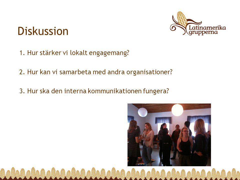 1. Hur stärker vi lokalt engagemang? 2. Hur kan vi samarbeta med andra organisationer? 3. Hur ska den interna kommunikationen fungera? Diskussion