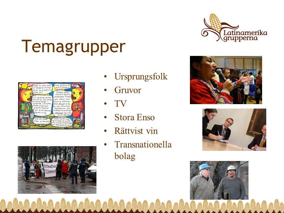 Temagrupper •Ursprungsfolk •Gruvor •TV •Stora Enso •Rättvist vin •Transnationella bolag