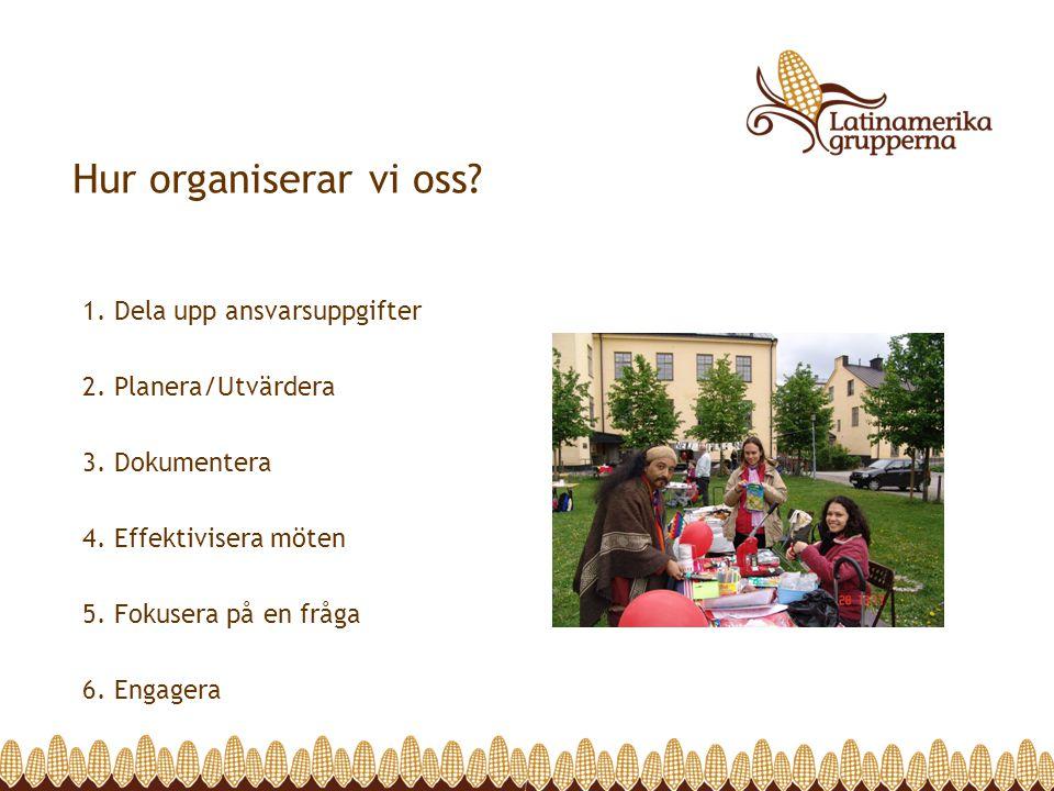 Hur organiserar vi oss? 1. Dela upp ansvarsuppgifter 2. Planera/Utvärdera 3. Dokumentera 4. Effektivisera möten 5. Fokusera på en fråga 6. Engagera