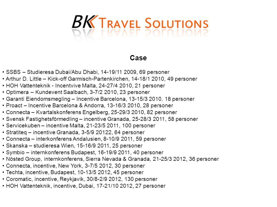 Case • SSBS – Studieresa Dubai/Abu Dhabi, 14-19/11 2009, 69 personer • Arthur D. Little – Kick-off Garmisch-Partenkirchen, 14-18/1 2010, 49 personer •