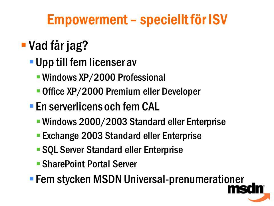 Empowerment – speciellt för ISV  Vad får jag.