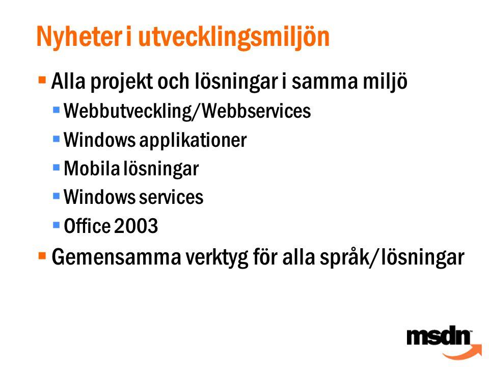 Nyheter i utvecklingsmiljön  Alla projekt och lösningar i samma miljö  Webbutveckling/Webbservices  Windows applikationer  Mobila lösningar  Windows services  Office 2003  Gemensamma verktyg för alla språk/lösningar