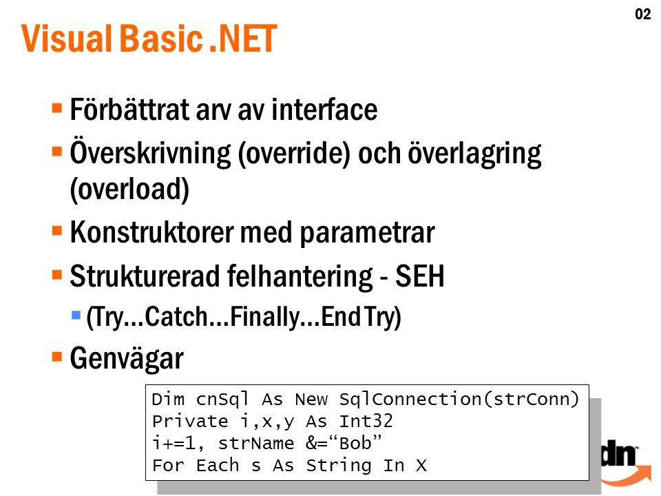 Visual Basic.NET  Förbättrat arv av interface  Överskrivning (override) och överlagring (overload)  Konstruktorer med parametrar  Strukturerad felhantering - SEH  (Try…Catch…Finally…End Try)  Genvägar Dim cnSql As New SqlConnection(strConn) Private i,x,y As Int32 i+=1, strName &= Bob For Each s As String In X Dim cnSql As New SqlConnection(strConn) Private i,x,y As Int32 i+=1, strName &= Bob For Each s As String In X 02