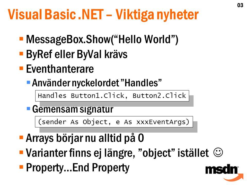  MessageBox.Show( Hello World )  ByRef eller ByVal krävs  Eventhanterare  Använder nyckelordet Handles  Gemensam signatur  Arrays börjar nu alltid på 0  Varianter finns ej längre, object istället   Property…End Property Handles Button1.Click, Button2.Click Visual Basic.NET – Viktiga nyheter (sender As Object, e As xxxEventArgs) 03