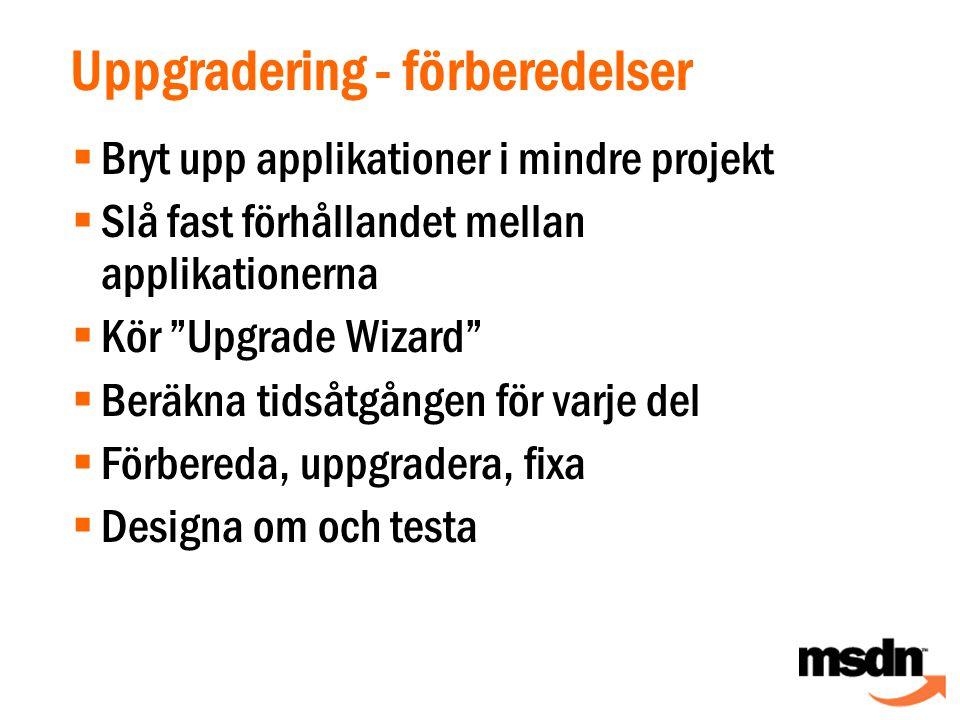 Uppgradering - förberedelser  Bryt upp applikationer i mindre projekt  Slå fast förhållandet mellan applikationerna  Kör Upgrade Wizard  Beräkna tidsåtgången för varje del  Förbereda, uppgradera, fixa  Designa om och testa