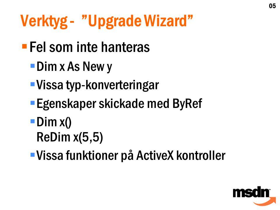 Verktyg - Upgrade Wizard  Fel som inte hanteras  Dim x As New y  Vissa typ-konverteringar  Egenskaper skickade med ByRef  Dim x() ReDim x(5,5)  Vissa funktioner på ActiveX kontroller 05