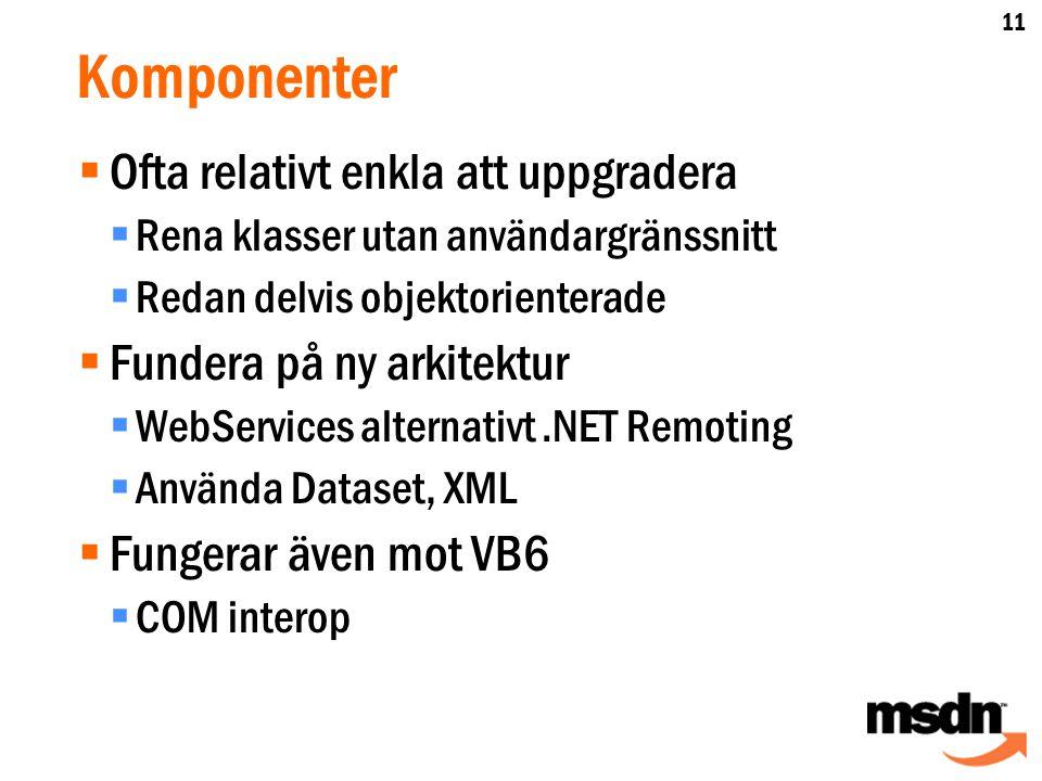 Komponenter  Ofta relativt enkla att uppgradera  Rena klasser utan användargränssnitt  Redan delvis objektorienterade  Fundera på ny arkitektur  WebServices alternativt.NET Remoting  Använda Dataset, XML  Fungerar även mot VB6  COM interop 11