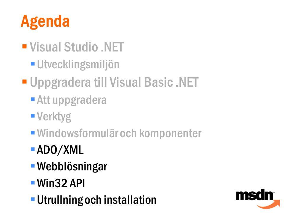 Agenda  Visual Studio.NET  Utvecklingsmiljön  Uppgradera till Visual Basic.NET  Att uppgradera  Verktyg  Windowsformulär och komponenter  ADO/XML  Webblösningar  Win32 API  Utrullning och installation
