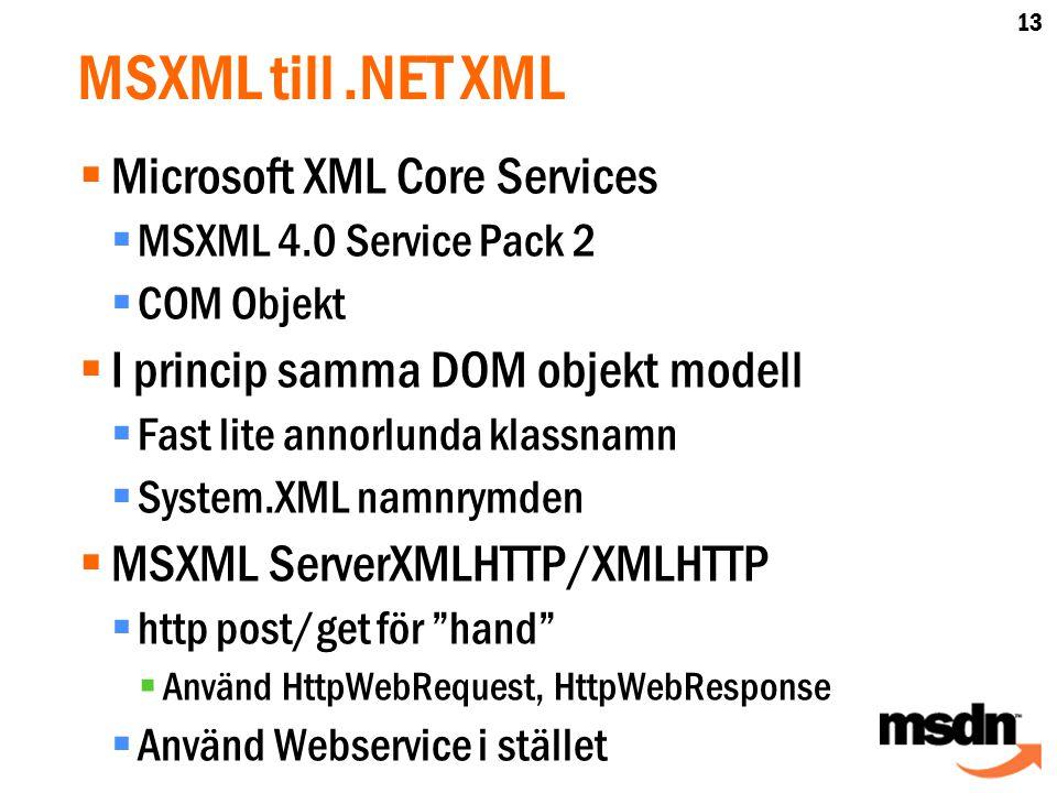 MSXML till.NET XML  Microsoft XML Core Services  MSXML 4.0 Service Pack 2  COM Objekt  I princip samma DOM objekt modell  Fast lite annorlunda klassnamn  System.XML namnrymden  MSXML ServerXMLHTTP/XMLHTTP  http post/get för hand  Använd HttpWebRequest, HttpWebResponse  Använd Webservice i stället 13