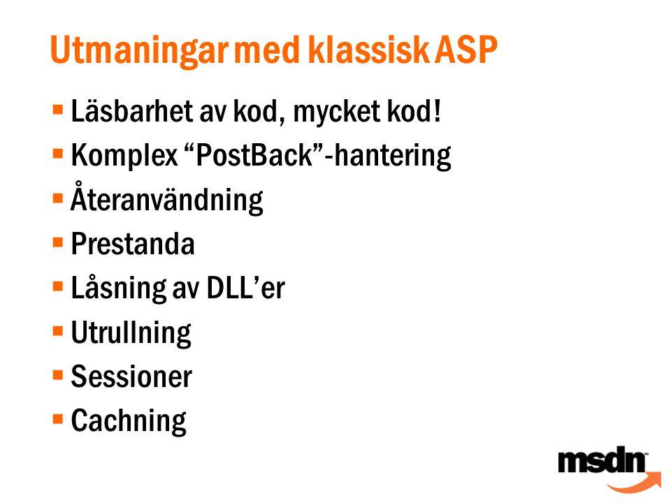 Utmaningar med klassisk ASP  Läsbarhet av kod, mycket kod.