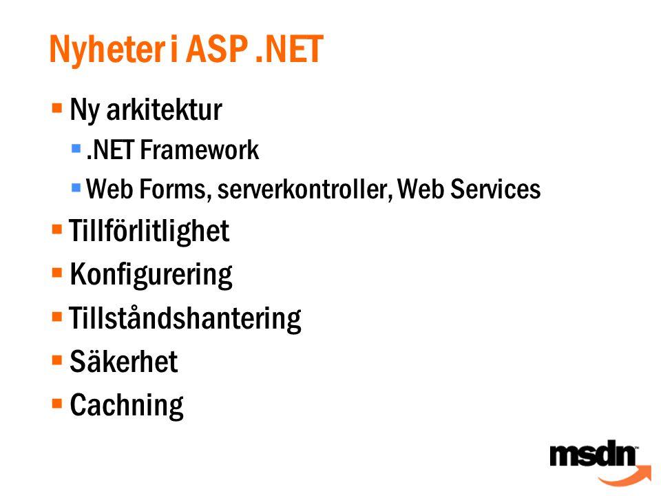 Nyheter i ASP.NET  Ny arkitektur .NET Framework  Web Forms, serverkontroller, Web Services  Tillförlitlighet  Konfigurering  Tillståndshantering  Säkerhet  Cachning
