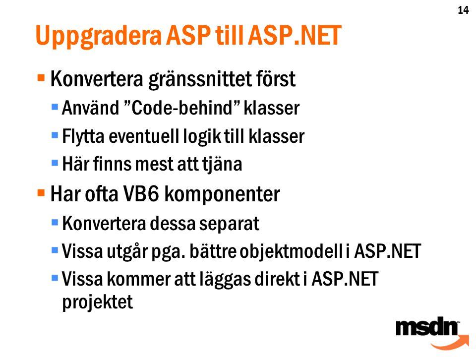 Uppgradera ASP till ASP.NET  Konvertera gränssnittet först  Använd Code-behind klasser  Flytta eventuell logik till klasser  Här finns mest att tjäna  Har ofta VB6 komponenter  Konvertera dessa separat  Vissa utgår pga.