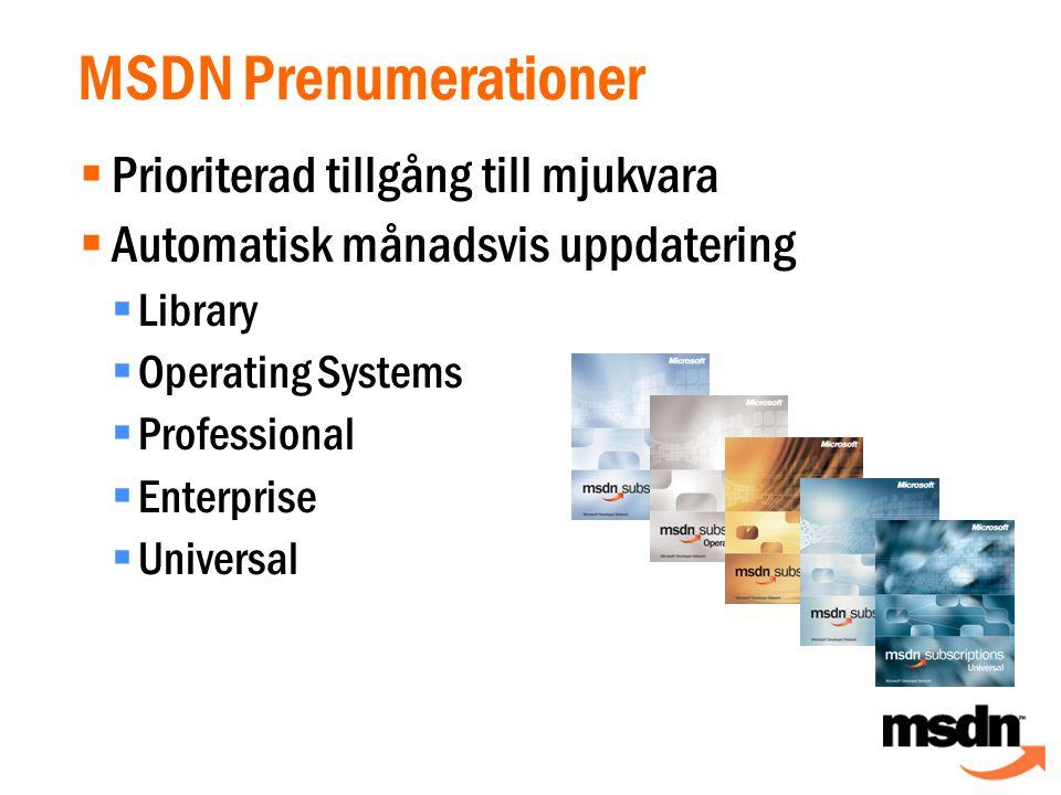 Globala resurser för utvecklare  Developer Centers  Säkerhet  Longhorn  Utbildning  MSDN TV  WebCasts  Artiklar  Kod http://msdn.microsoft.com