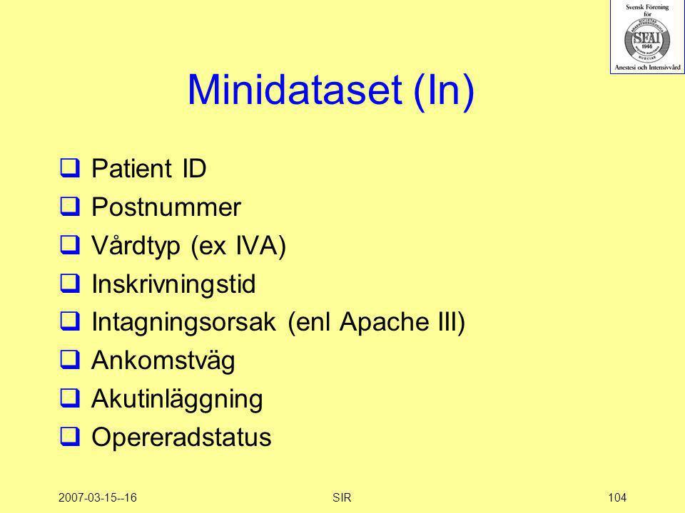 2007-03-15--16SIR104 Minidataset (In)  Patient ID  Postnummer  Vårdtyp (ex IVA)  Inskrivningstid  Intagningsorsak (enl Apache III)  Ankomstväg 