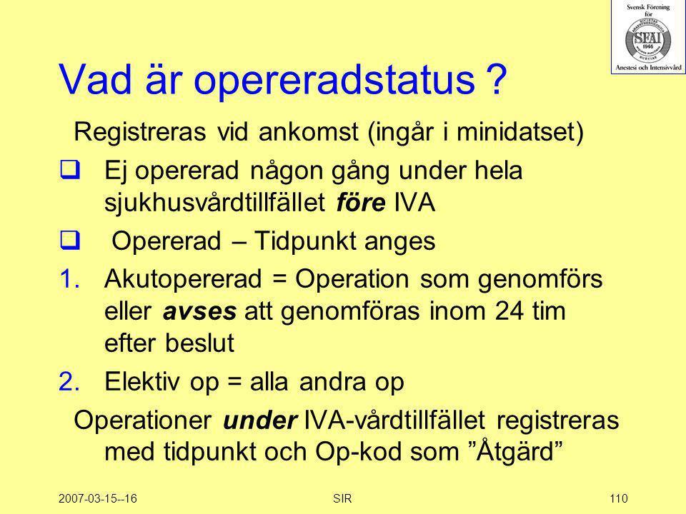 2007-03-15--16SIR110 Vad är opereradstatus ? Registreras vid ankomst (ingår i minidatset)  Ej opererad någon gång under hela sjukhusvårdtillfället fö