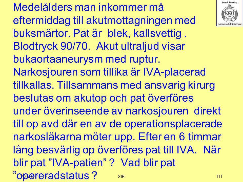 2007-03-15--16SIR111 Medelålders man inkommer må eftermiddag till akutmottagningen med buksmärtor. Pat är blek, kallsvettig. Blodtryck 90/70. Akut ult