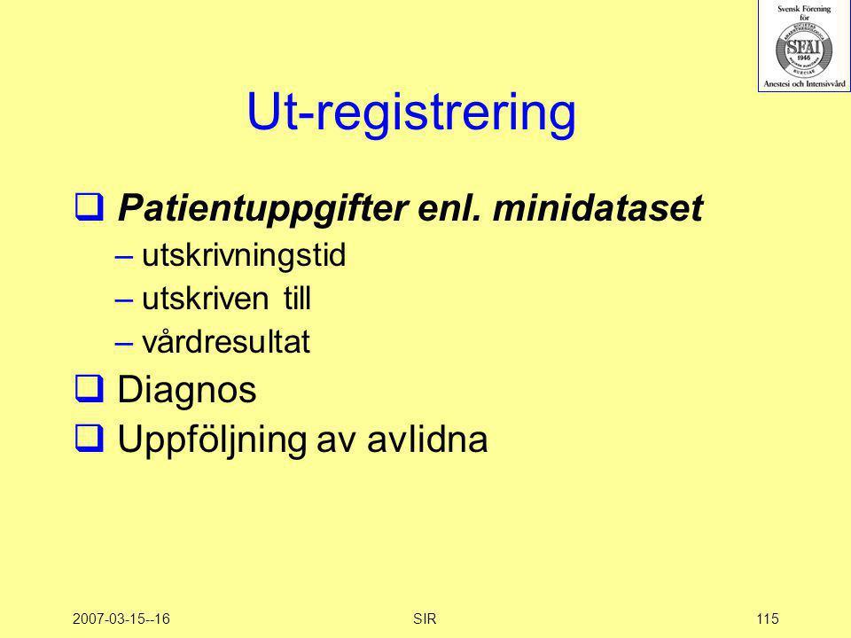 2007-03-15--16SIR115 Ut-registrering  Patientuppgifter enl. minidataset –utskrivningstid –utskriven till –vårdresultat  Diagnos  Uppföljning av avl