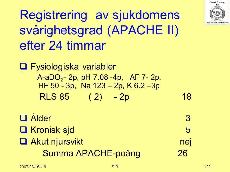 2007-03-15--16SIR122 Registrering av sjukdomens svårighetsgrad (APACHE II) efter 24 timmar  Fysiologiska variabler A-aDO 2 - 2p, pH 7.08 -4p, AF 7- 2