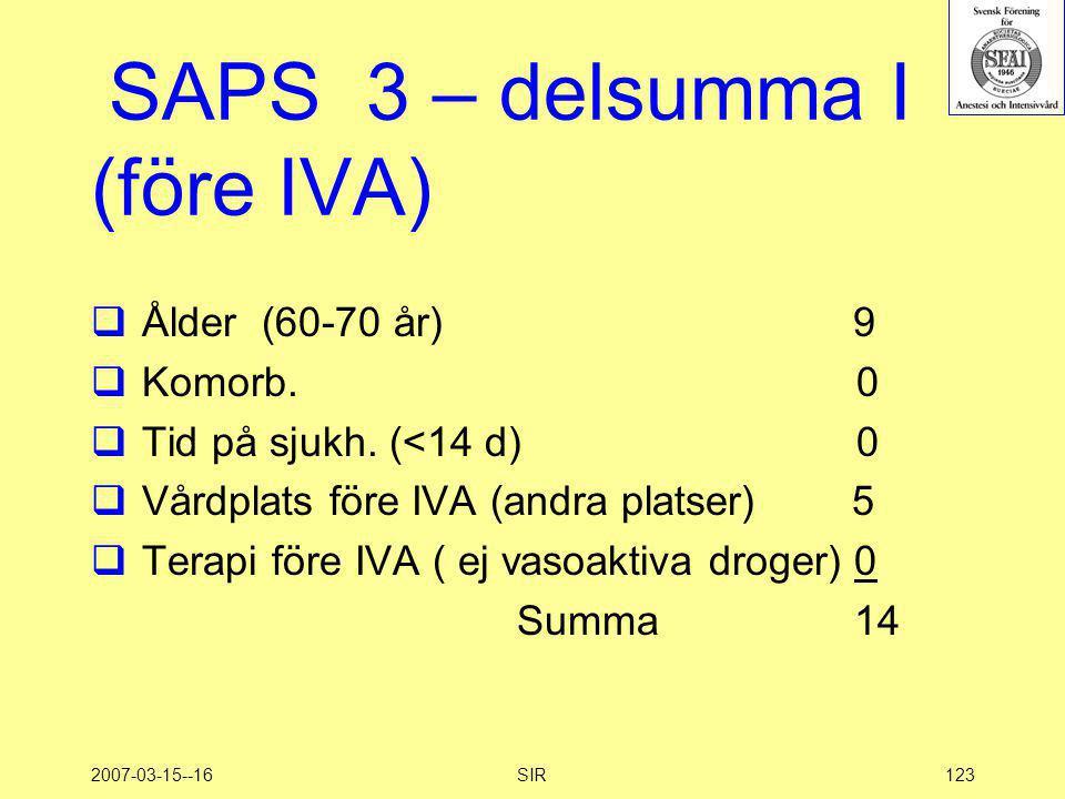 2007-03-15--16SIR123 SAPS 3 – delsumma I (före IVA)  Ålder (60-70 år) 9  Komorb. 0  Tid på sjukh. (<14 d) 0  Vårdplats före IVA (andra platser) 5