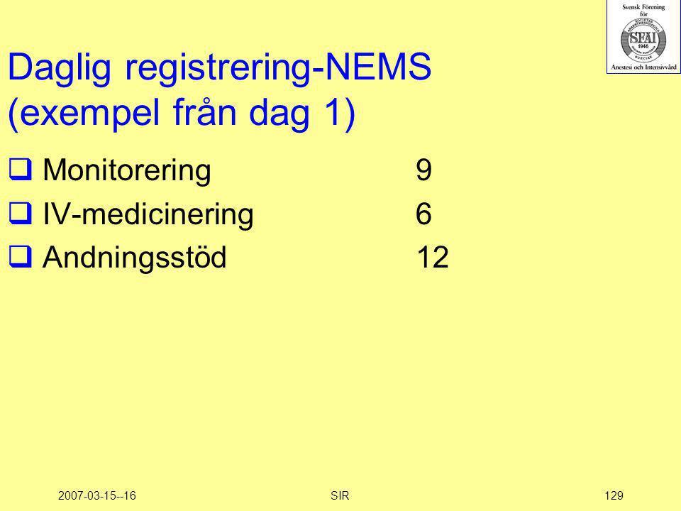 2007-03-15--16SIR129 Daglig registrering-NEMS (exempel från dag 1)  Monitorering9  IV-medicinering6  Andningsstöd12