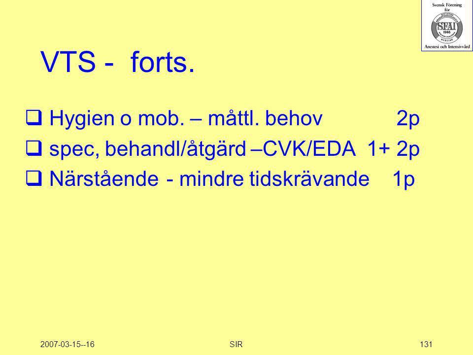 2007-03-15--16SIR131 VTS - forts.  Hygien o mob. – måttl. behov 2p  spec, behandl/åtgärd –CVK/EDA 1+ 2p  Närstående - mindre tidskrävande 1p