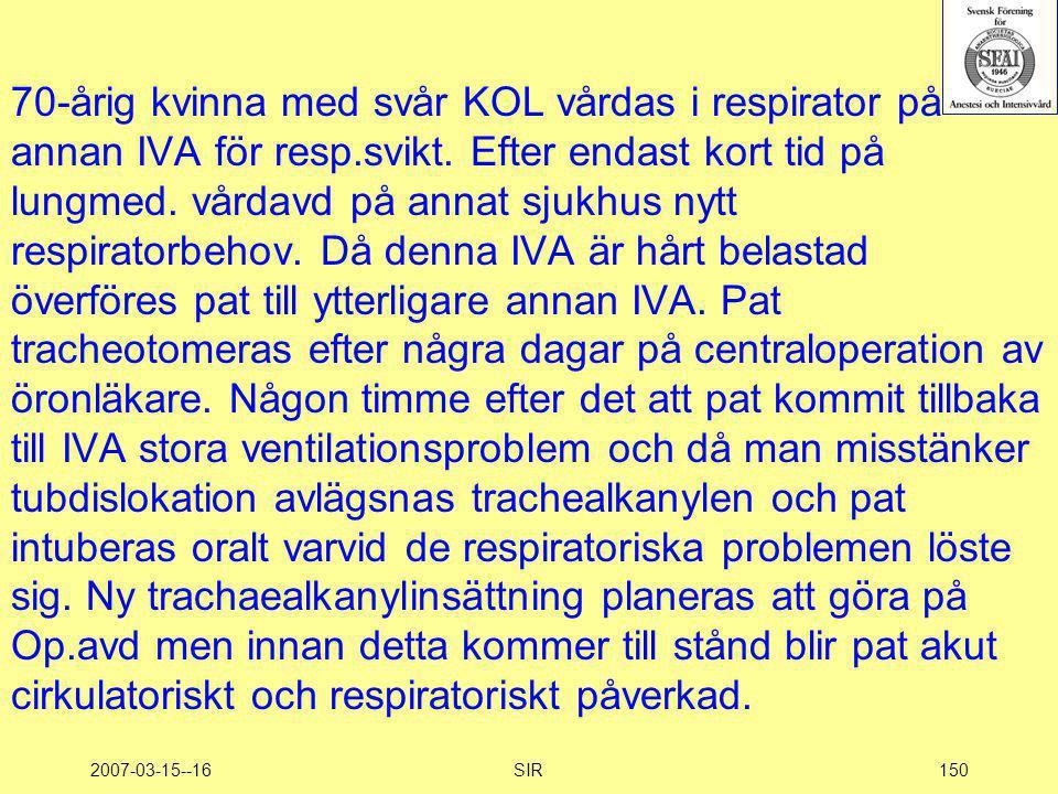 2007-03-15--16SIR150 70-årig kvinna med svår KOL vårdas i respirator på annan IVA för resp.svikt. Efter endast kort tid på lungmed. vårdavd på annat s