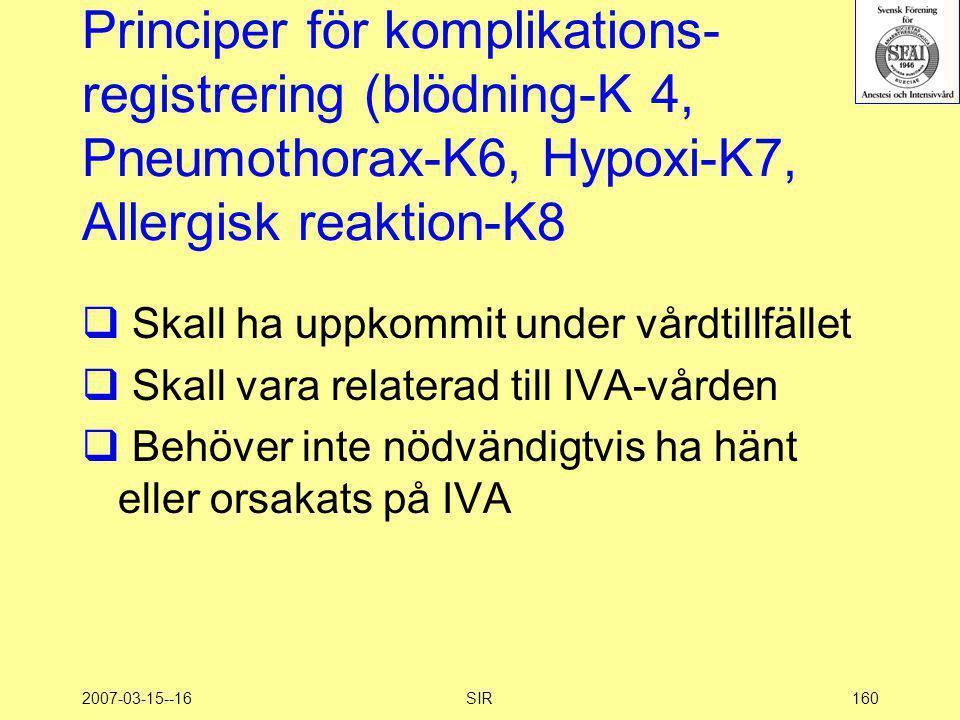 2007-03-15--16SIR160 Principer för komplikations- registrering (blödning-K 4, Pneumothorax-K6, Hypoxi-K7, Allergisk reaktion-K8  Skall ha uppkommit u